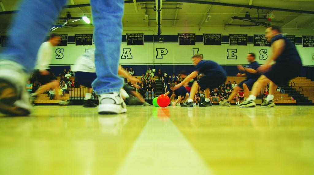 Staples students and teachers competed in a dodgeball tournament on March 13. | Photo by Victor Hollenberg 10