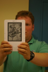 Eric Wessan '10 is one of Staples' most frequent Kindle users. | Photo by Ross Gordon '11