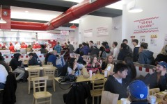 Hundreds of Westporters stopped by the grand opening of Five Guys today to grab a burger.   Photo by Victor Hollenberg '10.