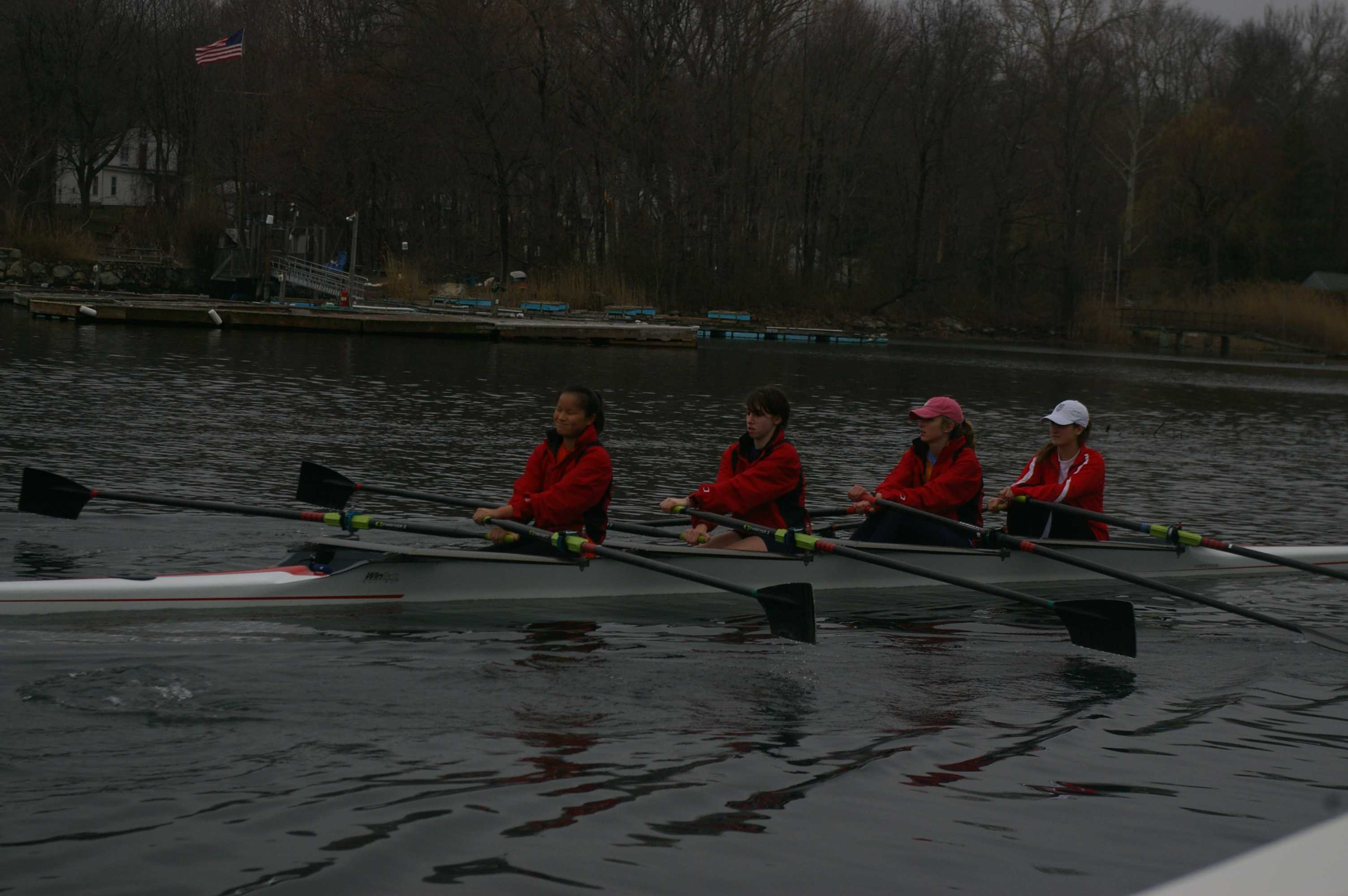 Rain or shine, the Staples Sailing team continues to practice. | Photo by Suzanne Kleine '11