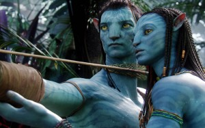 Graphic of the Navi characters, Neytiri and Jake Sully. Photo from crazythemes.com
