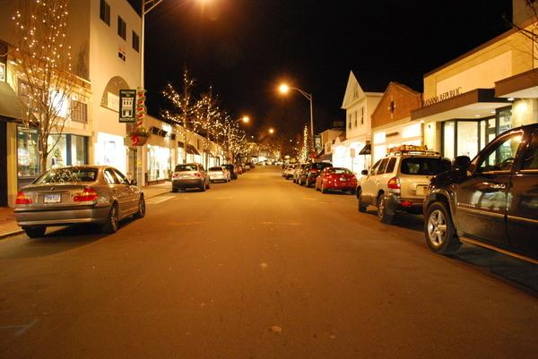 Silent Night: Westport downtown remains empty on a Monday night. Many stores close around 6 p.m.
