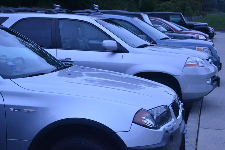 BUMPER TO BUMPER: Seniors, and a few select juniors, are allowed to park in school lots, permitted they purchase a $50 parking sticker. The money goes towards a Student Activity Account.