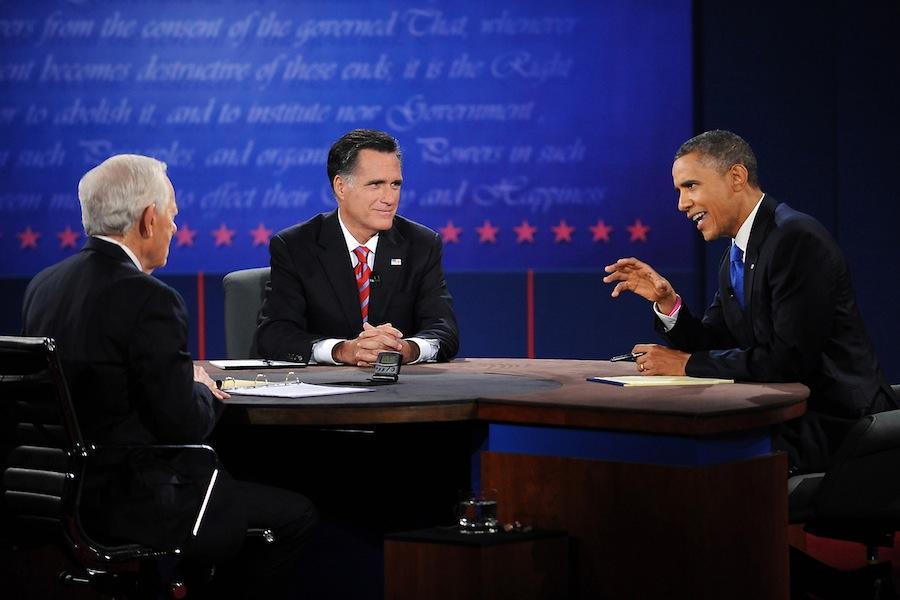President Barack Obama and Governor Mitt Romney debate on Monday, October 22, 2012 at Lynn University in Boca Raton, Florida.