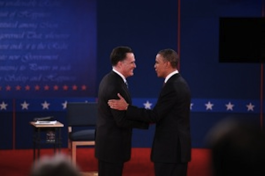 Obama+and+Romney+at+the+second+presidential+debate.+