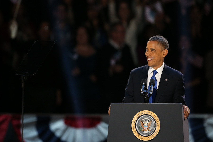 President+Barack+Obama+celebrates+his+re-election+by+speaking+to+his+supporters+in+Chicago+on+Nov.+7%2C+2012.