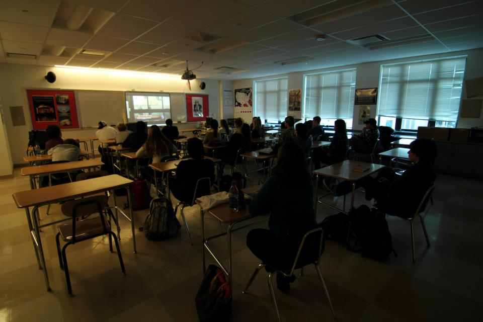 Students watch news of the shooting on Friday, Dec. 14. The following Monday, many classes discussed the incident in Newtown.