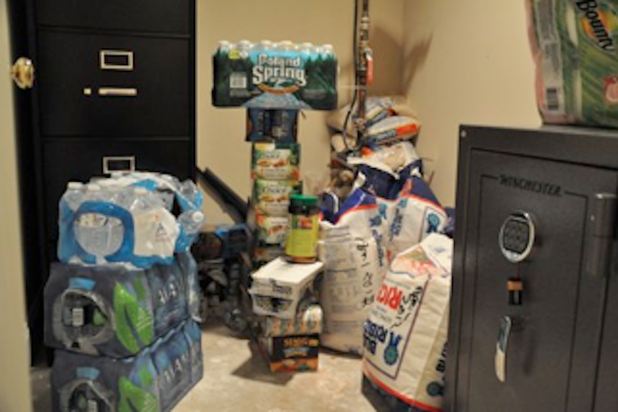 Olivia Kalbs basement with enough rice, soup, and water to survive an apocalypse.