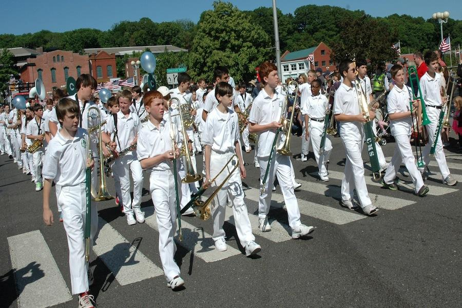 The Coleytown marching band performed in the parade.