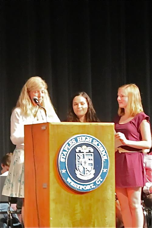 Child Development teacher Linda McClary recognizes Brynn Werner '13 and Allie Daut '13 for excellence.