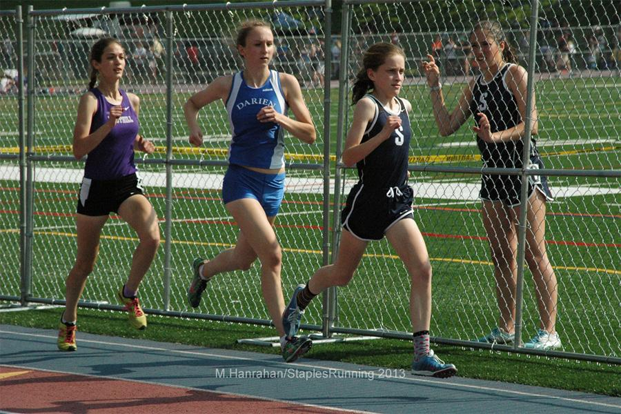 Hannah+DeBalsi+runs+in+the+1600+m%2C+an+event+where+she+set+a+Staples+and+FCIAC+record.+Staples+placed+first+in+FCIACs+for+both+boys+and+girls+track.+This+is+the+girls+team%27s+first+time+coming+in+first+in+23+years.+