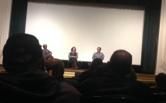 Susan Granger, Lisa Addario, and Joe Syracuse answer questions after the screening of