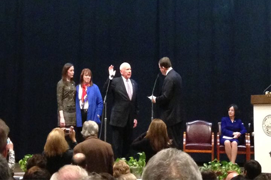 First Selectman Jim Marpe is sworn in.