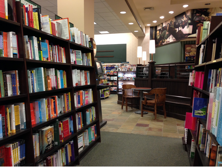 The inside of Barnes & Noble creates a beneficial atmosphere for students to get their work done.