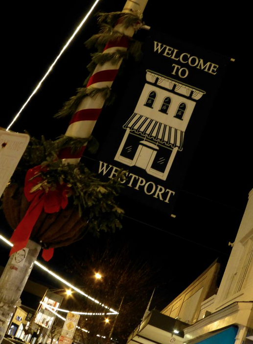 Even the telephone polls are including in the holiday decorations, resembling the classic red and white striped candy cane popularly found during the winter season.
