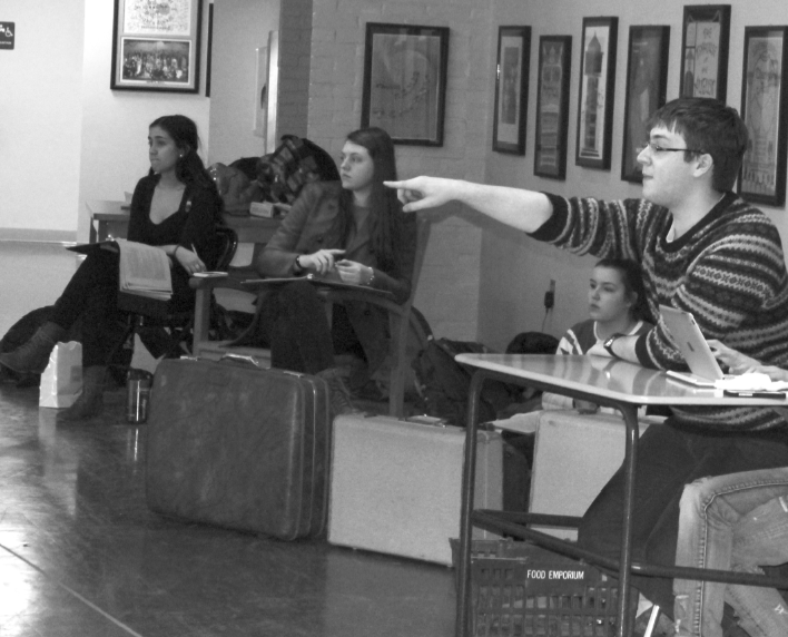 """The Man Behind the Scenes: Nathan Francis '14 directs his first spring studio, """"Don't Drink the Water,"""" a """"very zany, slapstick"""" comedy originally written by Woody Allen. The play opens Feb. 28th, and also shows on March 1st and 2nd."""