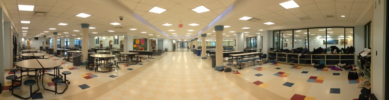 No Students In Sight: While typically filled with students, both the cafeteria and the Library appeared to be deserted on make-up day. Photo by Jane Levy '16