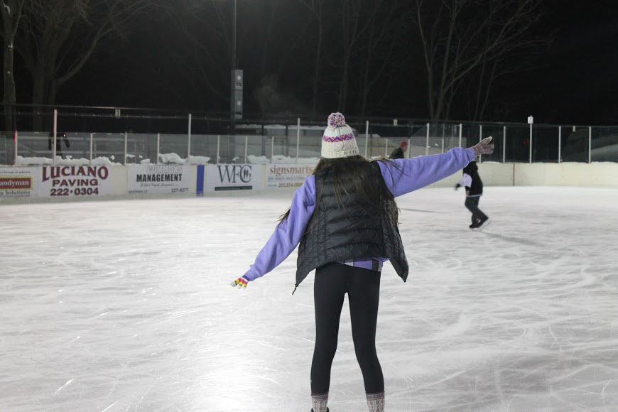 Ice Princess: Mackenzie Wood '16 perfects her balancing technique on the ice as she skates at the Longshore Rink. Photo by Caroline O'Kane '16
