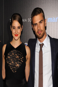 Shailene Woodley, who plays Tris, poses at an event with Theo James, who plays Four.