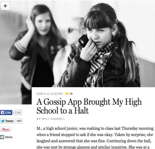 Students react to New York Magazine Yik Yak story
