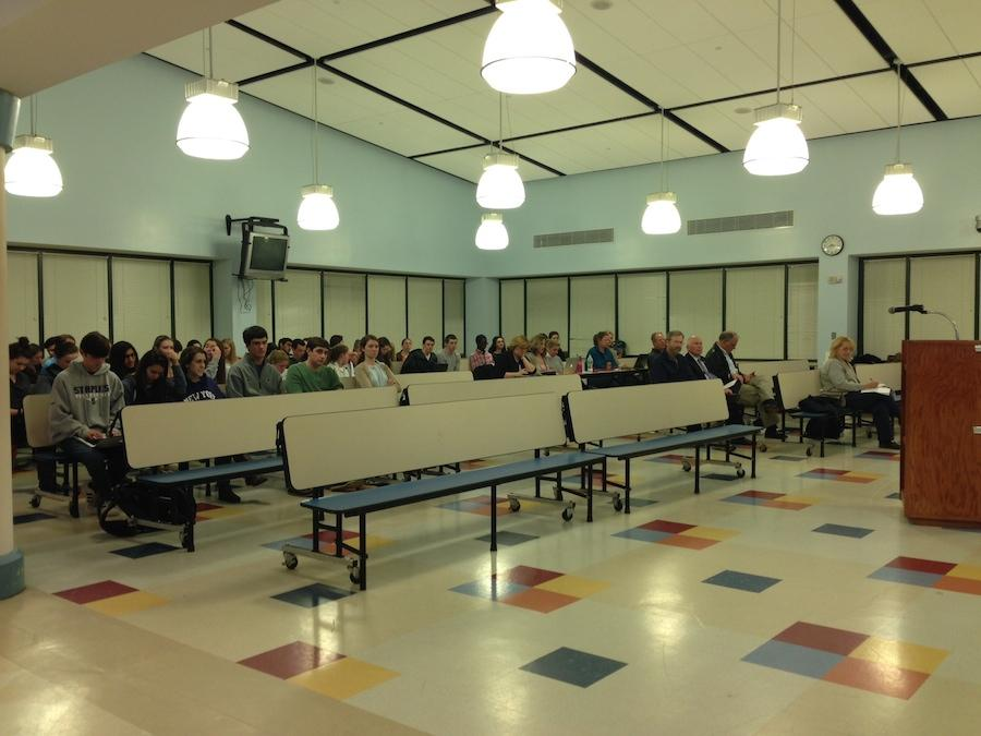 AP+environmental+students+filled+the+back+of+the+audience+to+show+their+support+for+the+solar+photovoltaic+system+proposal.