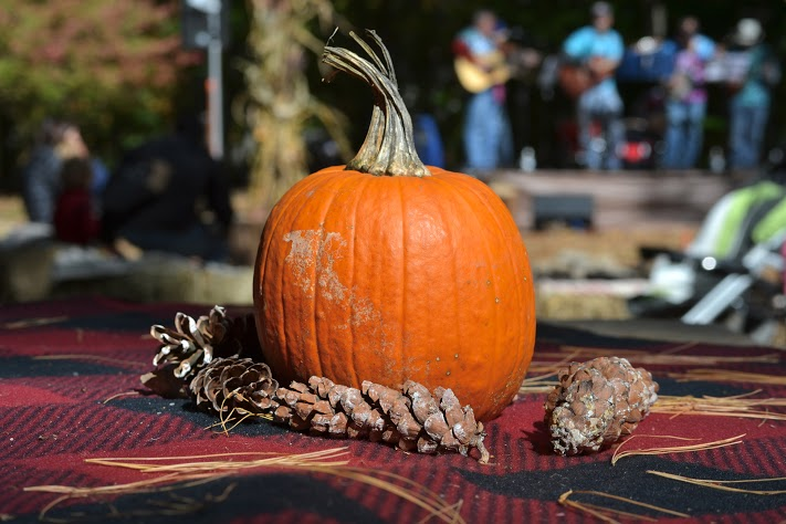 Tables at the festival are topped with classic fall décor including freshly picked pumpkins and pinecones.