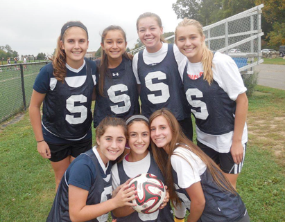 Staples Varsity soccer has been overrun with sophomores (Top row left to right: Morgan McWhirter, Tia Zajec, Charlotte  Rossi, Lydia Shaw. Bottom Row: Kit Epstien, Ivy Prince, Eve Korus.