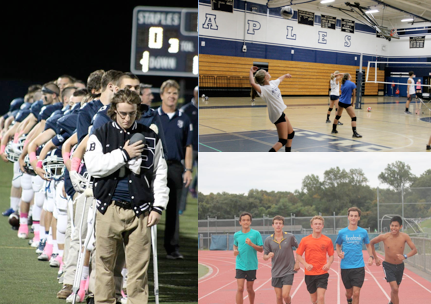 Top Left: Injured Kyle Hackett '15 leads the football team during the national anthem before the game against Stamford, which resulted in a 37-34 loss on Oct. 2. Top Right: Jamie Tanzer '15 and Elizabeth Bennewitz '15 stand with the field hockey team before a game last year. In 2013 the field hockey did not qualify for FCIACs, but they hope to this year.  Middle: Kendall Rochlin '15 serves up a shot for her teammates during practice. After reaching the FCIAC finals last year, SGVB is struggling with a 5-7 record. Bottom: (left to right) Zak Ahmad '17, Jake Berman '15, Oliver Hickson '15, James Lewis '16 and Luis Cruz '15 are some of the strongest runners for the team this fall, as all f runners finished in the top 15 in the 2.98 mile boys' race on Sept. 23.