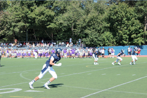 "Ryan Fitton '17 towers over the opposition with his 6' 5"" and 215 lb. frame in the Sept. 27 game against Westhill.  During this game he had a 52 yard punt"