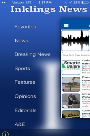 A screenshot of the new app: Inklings-News