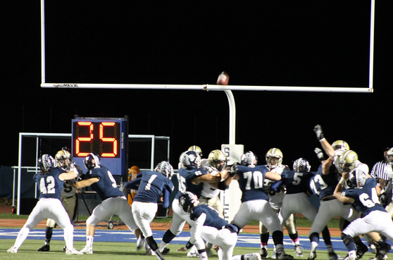 Kicker Tricarico '16 completes another successful extra point that widens the Wreckers lead to 15-0 before the end of the first half.