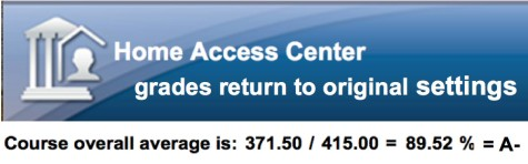 HAC grades return to original settings