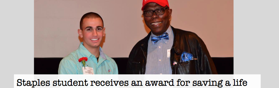 Staples student receives an award for saving a life