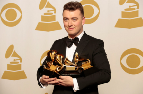 "Sam Smith with his four awards for ""Best Pop Vocal Album,"" ""Best New Artist,"" ""Record of the Year"" and ""Song of the Year. Photo courtesy of MCT Campus."
