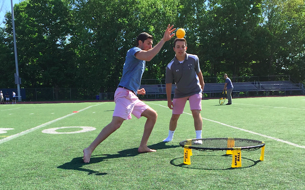 Ryan Angerthal '16 and John Dedomenico '16 enjoy a game of Spikeball during their gym period.