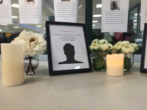 Candles and flower memorials stand outside the Staples Cafeteria to respect and remember those killed and impacted by accidents of drunk driving.