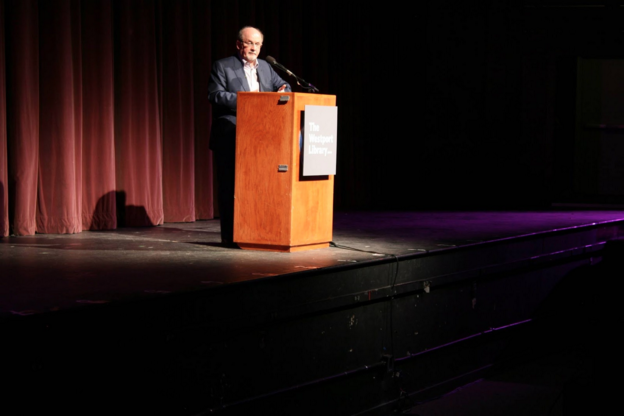 Salman Rushdie spoke in front of approximately 950 people in the auditorium, and he also spoke to several AP Literature classes in the Staples Library beforehand.