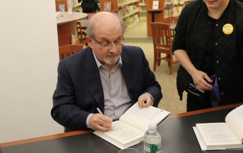 "Rushdie signs copies of ""Two Years Eight Months and Twenty-Eight Days"""