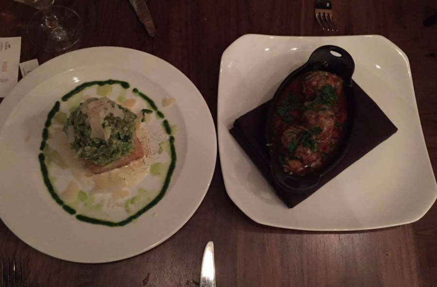 Two of the chef's recommended appetizers of a shaved brussels sprout salad atop a parmesan risotto cake with a light drizzle truffle vinaigrette and the house-made meatballs with house butchered colorado lamb, basil, oregano, fresh tomato sauce and parmesan cheese crostini.