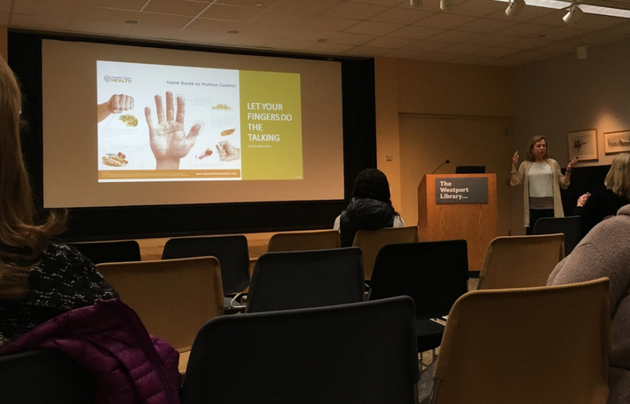 Clinical nutritionist Donna Brown speaking at the Westport Public Library.