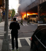 Photo by the New York Times of the fire at Metro North