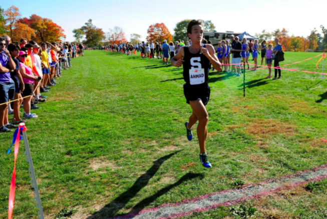 Zak Ahmad finishes in first a the 2016 boys' cross country FCIACS.