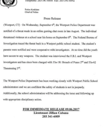 Westport student arrested for threatening violence