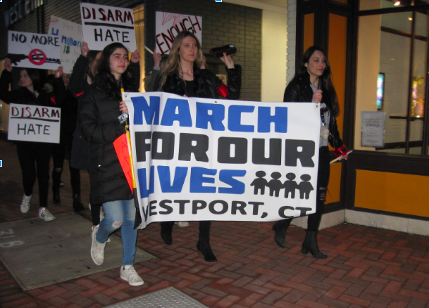 Students and families attend Westport March For Our Lives Candlelight Vigil, demand gun regulation and  honor lives lost