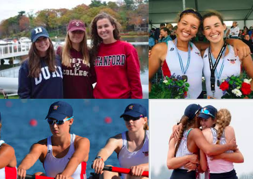 Kelsey McGinley '18 (top left in Stanford sweatshirt) accompanied by friends from Saugatuck Rowing Club.