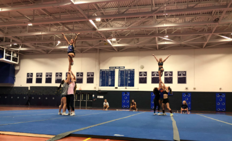 The all-girl cheerleading team practices partner stunts in preparation for their upcoming competition on Feb. 9, the Warde Winer Challenge. Avery Tucker '22 and Daniella Gat '20 are the teams two flyers.