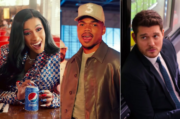 Artist Cardi B expressing her feeling for Pepsi, Chance the Rapper representing Doritos and artist Michael Buble supporting the sparkling water Bubly.