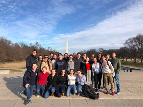 The group of students in the club visited the National Mall during some time off from learning about the federal government as it applies to JSA.