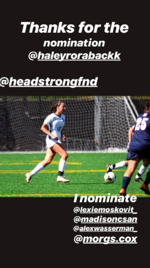Staples student Sarah McGroarty '21 participates in the Headstrong Fund challenge by posting her game day hair. The challenge has reached national levels and is continuing to raise awareness and funds for cancer patients through social media.