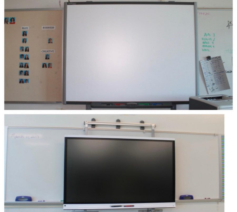 These+are+two+versions+of+SmartBoards+at+Staples+High+School%2C+some+being+newer+and+having+a+higher+technology+capability.+The+older+SmartBoards+are+notorious+for+having+technology+difficulties+and+breaking+more+easily.+